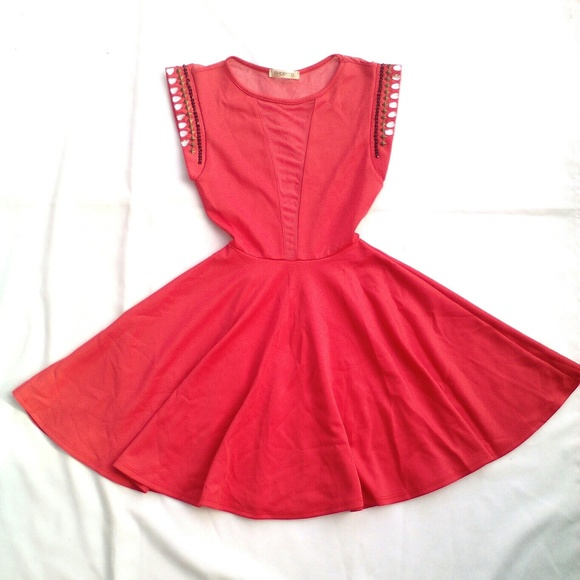 b7dea447dd9 Salmon Red Coral Mesh Cutout Embellished Sun Dress